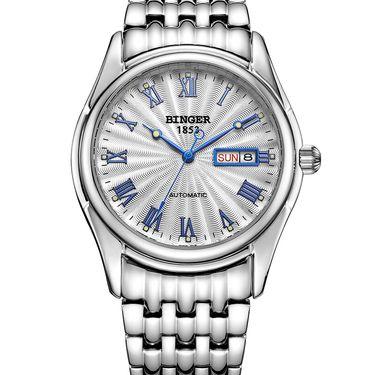 宾格 (BINGER)手表男士背透镂空全自动机械表精钢带双日历防水夜光男表腕表