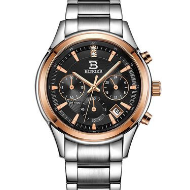宾格 (BINGER)手表石英表男士手表商务休闲精钢皮带男表