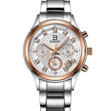 宾格 (BINGER)手表石英表女士手表商务休闲清风系列精钢皮带女表防水