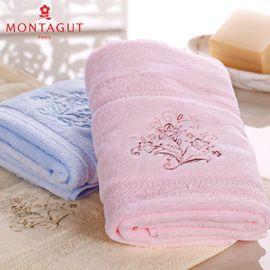 梦特娇 Montagut素色高低毛绣花割绒面巾 纯棉 洗脸 成人毛巾 柔软
