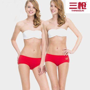 三枪 内裤女舒肤弹力棉内裤柔软透气本命年红色女士三角裤[2条装]