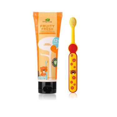 小树苗 婴幼儿防蛀健齿牙膏25g+3-6岁快乐成长儿童牙刷组合套装