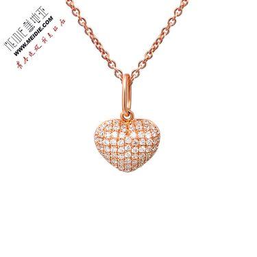 Meidie 美地亚 珠宝玫瑰18K金爱心群镶钻石套链DN2330032R