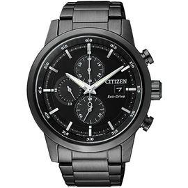 西铁城 (CITIZEN)手表 光动能 不锈钢黑色表带 多功能男表 CA0615-59E