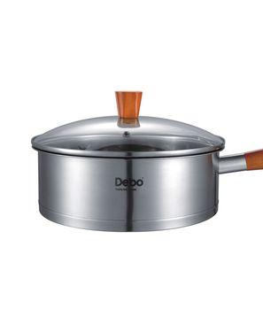 德铂(Debo)通用不锈钢节能煎锅 防烫木质手柄不粘奶锅24cm 艾特朗 DEP-293