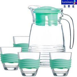 乐美雅 (Luminarc)玻璃杯凉水壶水杯直身杯水具套装海岸线薄荷绿水具5件套 6798