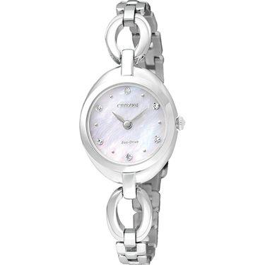 西铁城 (CITIZEN)手表 光动能 贝母表盘时尚女表 EX1430-56D