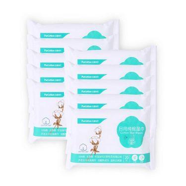 全棉时代 袋装全棉日用护理湿巾40g 20片/袋*10袋