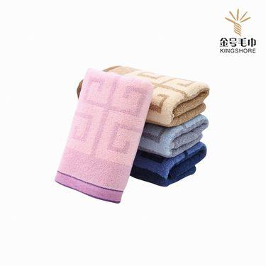 金号织业 加厚加大纯棉提缎花式线 情侣毛巾套装 方巾+毛巾各2条 颜色随机发货