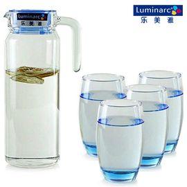 乐美雅 鹿特丹凝彩冰蓝水具5件套H9102