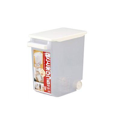 INOMATA日本进口带盖米箱米桶塑料储米桶米缸防潮带手扶杆滚轮米桶透明米桶