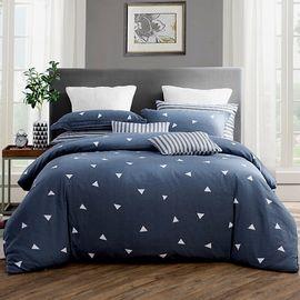 九洲鹿 家纺 套件高支高密斜纹印花双人四件套 被套床单全棉床上用品 思绪 1.5/1.8米床