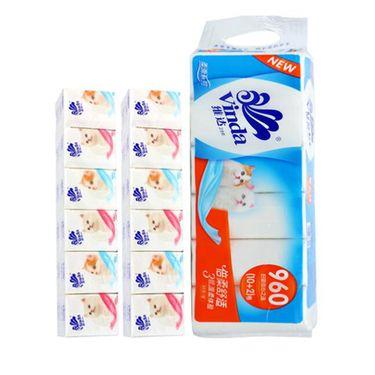 维达  家用纸巾套装  3层手帕纸24包+3层无增白剂卷纸10卷