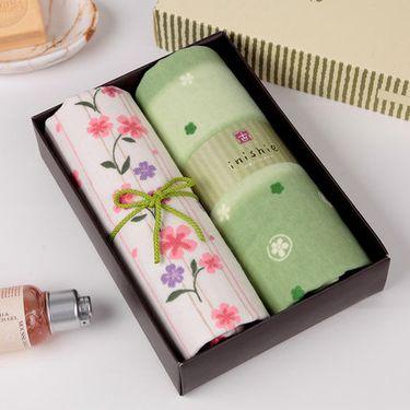UCHINO 日本内野 零售同款 和风2条装毛巾礼盒  纯棉纱布大面巾 柔软吸水 婚庆结婚毛巾