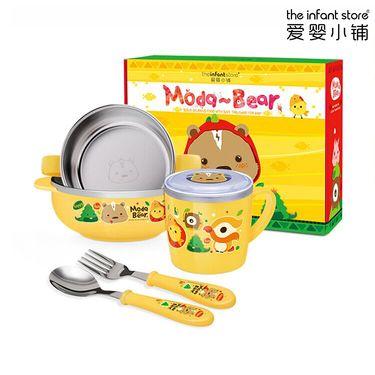 爱婴小铺 ModaBear 韩国进口儿童不锈钢餐具美味五件套