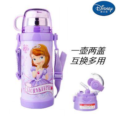 迪士尼Disney-苏菲紫双盖保温杯400毫升双层高真空不锈钢感温变色滑锁扣学童男女吸管背带户外水壶瓶杯