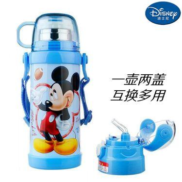 迪士尼Disney-米奇蓝双盖保温杯400毫升双层高真空不锈钢感温变色滑锁扣学童男女吸管背带户外水壶瓶杯