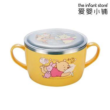 爱婴小铺 迪士尼(Disney)不锈钢儿童 餐具双手柄大面碗(带盖)(三色可选)