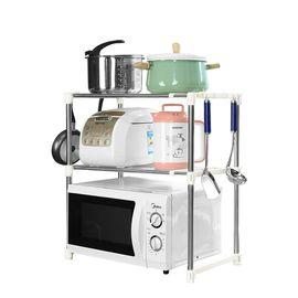 宝优妮 厨房微波炉置物架双层不锈钢烤箱架餐具盘子架收纳架锅碗架DQ0826