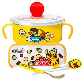 B.DUCK小黄鸭 儿童智力学习筷三件套(筷子/勺子/盒子)+双柄带盖不锈钢碗 优惠套组 全积分兑换