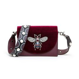 ELLE 女包新款80915时尚气质丝绒翻盖蜜蜂包肩背腰包斜跨包