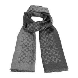 GUCCI /古驰 深灰色GG图案羊毛男士围巾 #391246 4G200 1462 联正国际