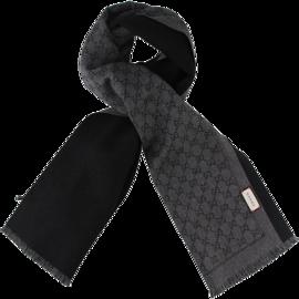 GUCCI /古驰 黑色双G图案长款流苏羊毛男士围巾 #402093 4G200 1160 联正国际