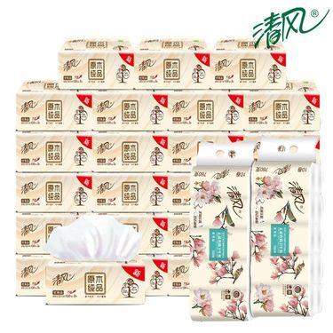 清风 原木3层130抽抽纸48包+原木三层卷纸10卷