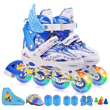 高鑫 儿童溜冰鞋套装 闪光直排滑冰鞋 可调旱冰鞋男女轮滑鞋