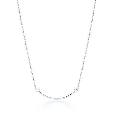 蒂芙尼 女款T系列微笑银吊坠项链 GRP09006