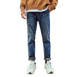 A21 牛仔裤秋季新款男装 时尚低腰牛仔长裤子男小合体直筒长裤潮男4841010001