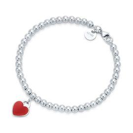 蒂芙尼Tiffany&co. 女款镶珐琅红925银心形手链手环 GRP10189 美国官网款 XUNTAO