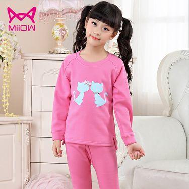 Miiow/猫人 猫人儿童保暖内衣套装男童女童圆领加绒加厚秋衣秋裤宝宝保暖套装