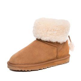Ozwear UGG 【新品到港】Ozwear澳洲雪地靴品牌流苏毛球翻毛短筒雪地靴 一鞋两穿OB395 IVY