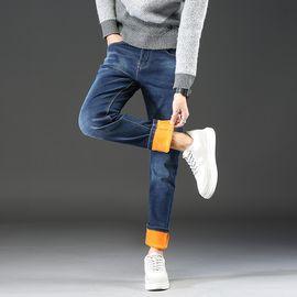 库依娜 秋冬2018款加绒保暖男式牛仔裤直筒中腰韩版修身加厚牛仔裤男HJR1282