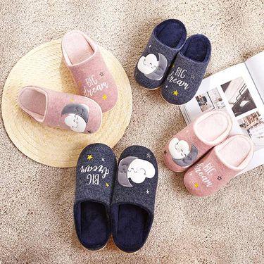 丽芙 豆豆款保暖拖鞋(亲子系列)  秋冬季男女儿童室内家居棉拖鞋保暖毛绒加厚防滑居家家用木地板