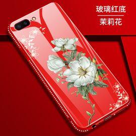 麦阿蜜 苹果7Plus手机壳iPhone7Plus保护套钢化玻璃花朵彩绘全包防摔时尚镶钻TPU硅胶软边硬壳