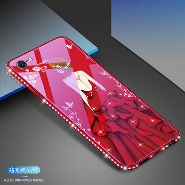 麦阿蜜 苹果7手机壳iPhone7保护套蓝光镶钻钢化玻璃背板防摔硬壳轻薄全包硅胶软边时尚款