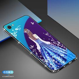 麦阿蜜 苹果6手机壳iphone6s保护套6Splus蓝光镶钻钢化玻璃背板防摔硬壳全包硅胶软边时尚女款
