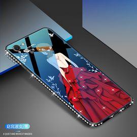 麦阿蜜 苹果6手机壳iphone6s保护套6plus蓝光镶钻钢化玻璃背板防摔硬壳全包硅胶软边时尚女款