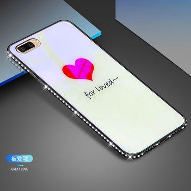 麦阿蜜 苹果7Plus手机壳iPhone7 plus保护套蓝光镶钻钢化玻璃背板防摔硬壳轻薄全包硅胶软边时尚款