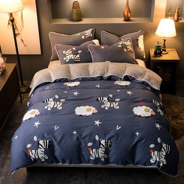 艾桐 四件套 韩版法莱绒保暖床品被套床单 枕套4件套
