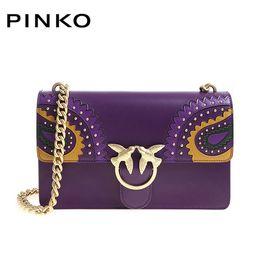 PINKO /品高 女士个性时尚拼接单肩链条燕子包1P217F Y515 深紫色 洲际速买