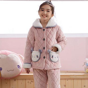苏吉思 冬季儿童加厚夹棉法兰绒睡衣小孩保暖套装男女大童珊瑚绒家居服LP-16