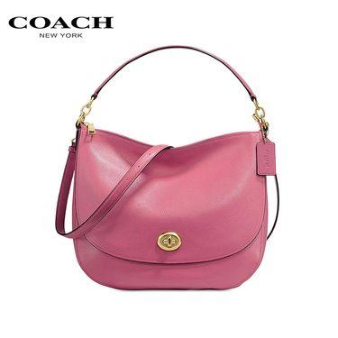 COACH /寇驰女式手提单肩包胭脂红色 洲际速买