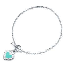 蒂芙尼Tiffany&co. 女款银镶蒂芙尼蓝珐琅心形手链手环 GRP10369 美国官网款 XUNTAO
