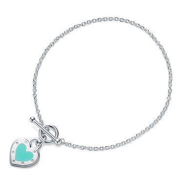 蒂芙尼 女款芙尼蓝珐琅心形手链手环 GRP10369
