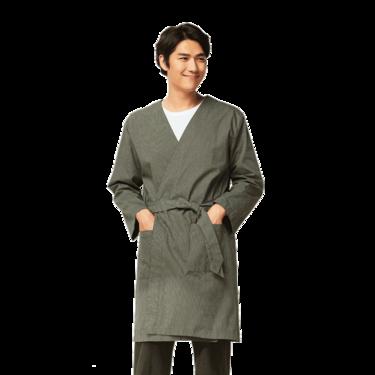 网易严选 设计师款 男式森林绿条纹睡袍