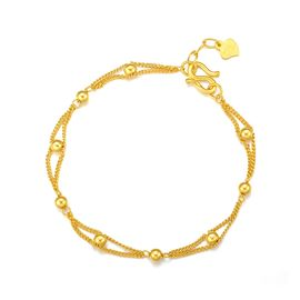 周大生 黄金转运光珠手链女款足金999路路通百搭素链珠宝G0HC0002  约4.2g