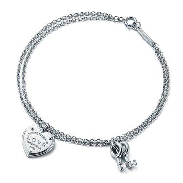 蒂芙尼 女款心牌锁搭小钥匙双链手链手环 GRP08939